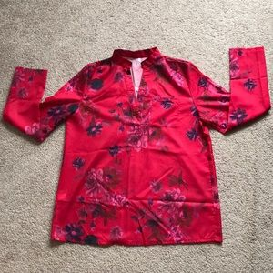 Tops - Floral patterned long sleeve blouse